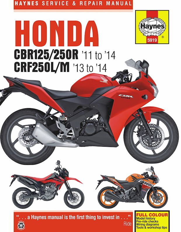 Honda Cbr125r  Cbr250r  U0026 Crf250l  M Repair Manual  2011