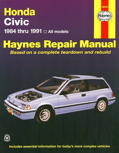 Honda Civic, CRX, Wagon Repair Manual 1984-1991