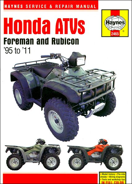 honda foreman 400 450 rubicon 500 repair manual 1995 2011 rh themotorbookstore com 2009 Honda Foreman Owner's Manual Honda Foreman ATV Owner Manual