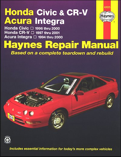 Honda Repair Manual Civic 1996-2000, CR-V 1997-2001, Acura Integra 1994-2000