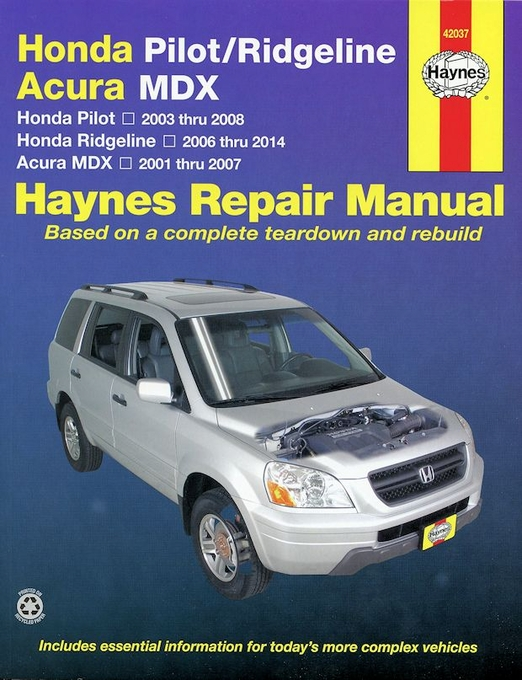 honda ridgeline pilot acura mdx repair manual 2001 2014 haynes 42037 rh themotorbookstore com acura tl 2003 repair manual pdf download 2003 acura mdx repair manual pdf