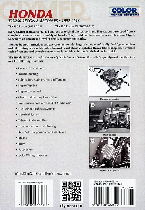 honda trx250 recon es repair manual 1997 2016 clymer m446 4 rh themotorbookstore com Honda 250 Recon Four Wheeler 2007 honda recon 250 es owners manual