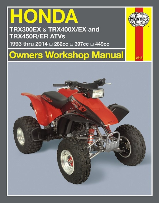 honda trx300 trx400 trx450 trx450 repair manual 1996 2014 rh themotorbookstore com 2000 honda 400ex owners manual 400ex service manual free download
