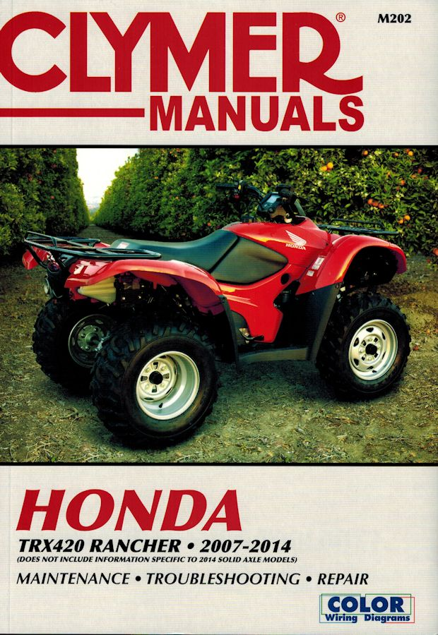 honda trx420 rancher repair manual 2007 2014 clymer m202 rh themotorbookstore com honda atv repair manuals online honda atv repair manuals online