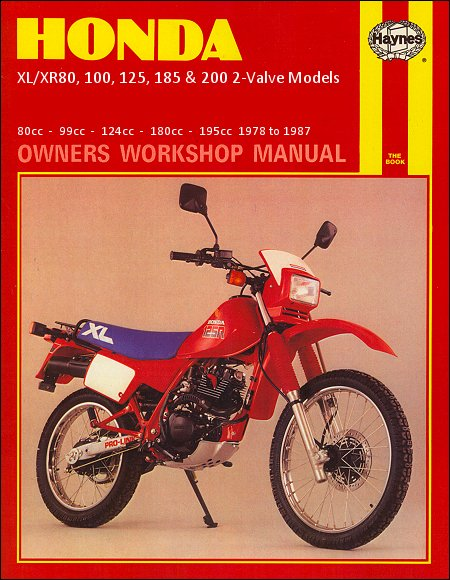 honda motorcycle repair manual 1978 1987 xl xr80 100 125 185 200 rh themotorbookstore com 1980 Honda XR 80 1982 Honda XR 80