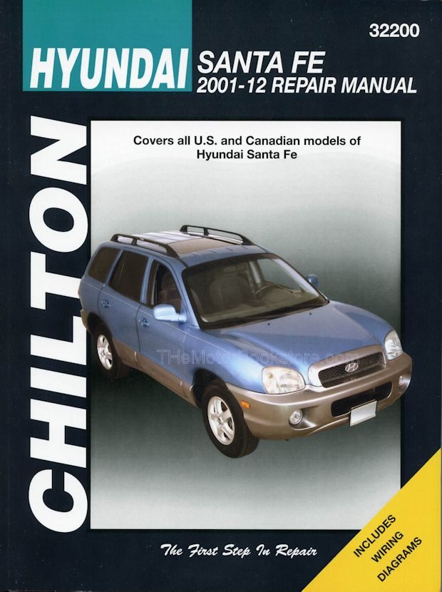 hyundai santa fe repair manual 2001 2012 chilton 32200 rh themotorbookstore com manual hyundai santa fe 2002 gratis hyundai santa fe 2001 manual pdf