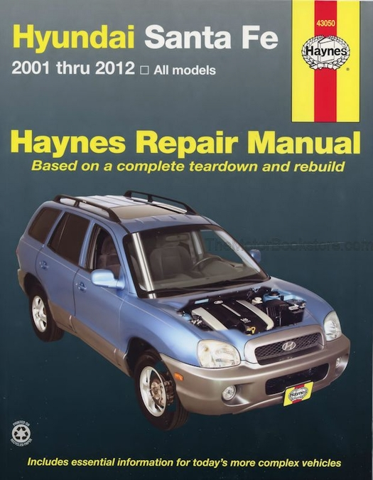 hyundai santa fe repair workshop manual 2001 2012 haynes 43050 rh themotorbookstore com hyundai santa fe 2007 user manual pdf hyundai santa fe 2007 repair manual download