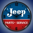 Jeep Parts and Service Wall Clock, LED Lighted