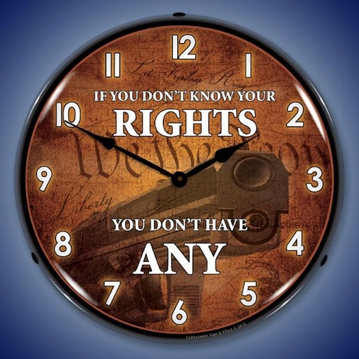 Know Your Rights Wall Clock, LED Lighted