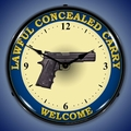 Lawful Concealed Carry Gun Wall Clock, LED Lighted