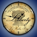 Liberty Bell Wall Clock, LED Lighted