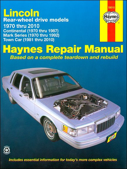continental town car mark iii iv v vi vii repair manual 1970 2010 rh themotorbookstore com 1950 Lincoln Continental Lincoln Continental Dealerships