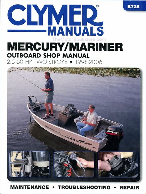 mercury mariner repair manual by clymer 1998 2006 2 5 60 hp rh themotorbookstore com 60 HP Mariner Parts 60 HP Mariner Parts