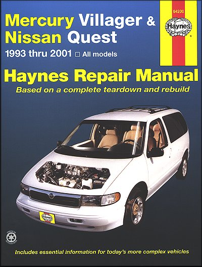 mercury villager nissan quest repair manual 1993 2001 haynes rh themotorbookstore com 2000 mercury villager repair manual pdf 1999 Mercury Villager Knock Sensor Location