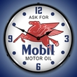Mobil Oil Wall Clock, LED Lighted: Gas / Oil Theme