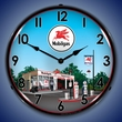 Mobil Station Wall Clock, LED Lighted: Gas / Oil Theme