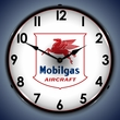 Mobilgas Avaition Wall Clock, LED Lighted: Airplane Theme