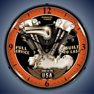 Motorcycle Wall Clocks, LED Lighted: Indian, BSA, Cafe Racer, V-Twin, Biker