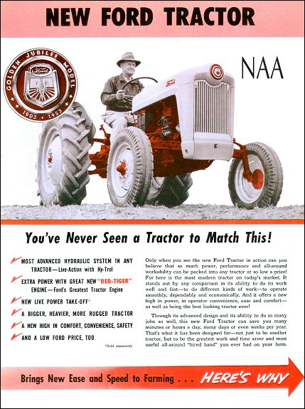 New 1953-1955 Ford Farm Tractor NAA Sales Brochure