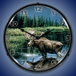 Northern Solitude Moose Wall Clock, LED Lighted