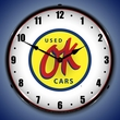 OK Used Cars Wall Clock, LED Lighted