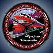 Olympian Hiawatha Railroad Wall Clock, LED Lighted