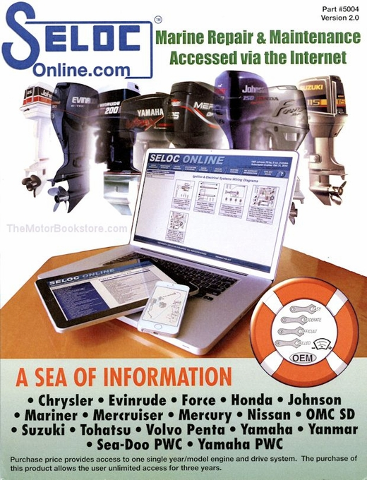 Outboard, Inboard, PWC Engine Repair Manual (Online): 1962-2015