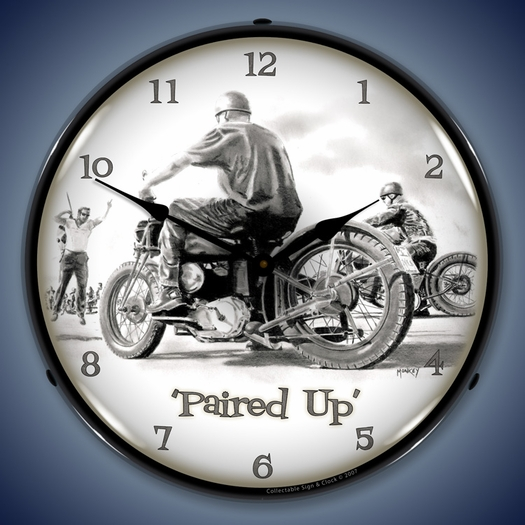 Paired Up Motorcycle Wall Clock, LED Lighted