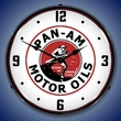 Pan Am Motor Oils Wall Clock, LED Lighted: Gas / Oil Theme