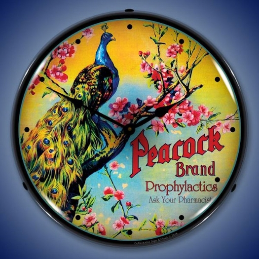 Peacock Brand Prophylactics Wall Clock, LED Lighted (Ask Your Pharmacist)