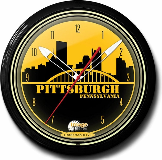 Pittsburgh Pride Neon Clock, High Quality, 20 Inch