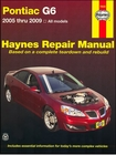 Pontiac G6 2.4L 4-Cylinder, 3.5L, 3.6L, 3.9L V6 Repair Manual 2005-2009