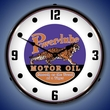 Powerlube Motor Oil Wall Clock, LED Lighted: Gas / Oil Theme