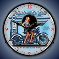 Pump N Go Motorcycle Wall Clock, LED Lighted