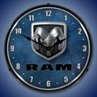 Ram Logo Wall Clock, LED Lighted