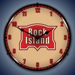 Rock Island Railroad Wall Clock, LED Lighted