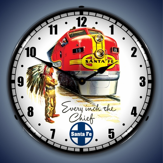 Santa Fe Chief Railroad Wall Clock, LED Lighted