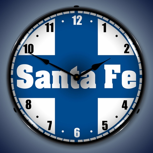 Santa Fe Railroad Wall Clock, LED Lighted