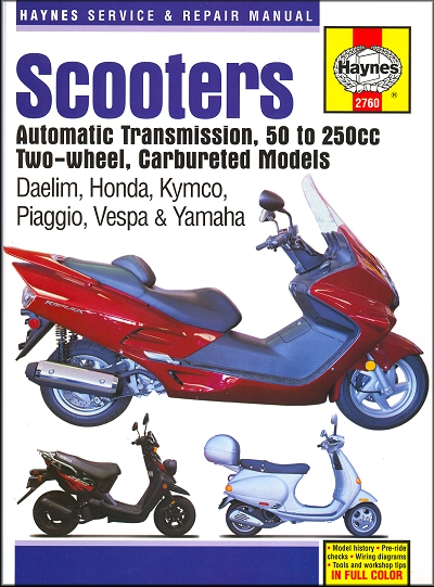 Scooter repair manual daelim honda kymco piaggio for Garage reparation scooter