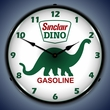 Sinclair Dino Wall Clock, LED Lighted: Gas / Oil Theme