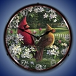 Spring Cardinals Wall Clock, LED Lighted