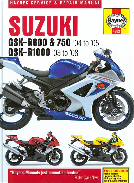 suzuki gsxr600 gsxr750 gsxr1000 repair manual 2003 2008 haynes rh themotorbookstore com 2006 suzuki gsxr 750 service manual download 2008 Suzuki GSR 600 K-6