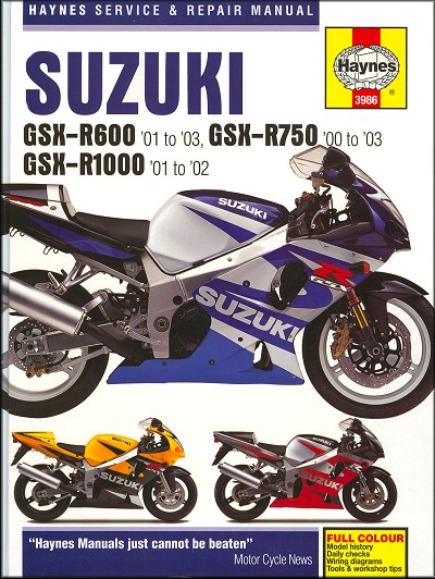 suzuki gsxr600 gsxr750 gsxr1000 repair manual 2000 2003 haynes rh themotorbookstore com 2000 suzuki gsxr 600 owners manual pdf 2000 suzuki gsxr 600 repair manual