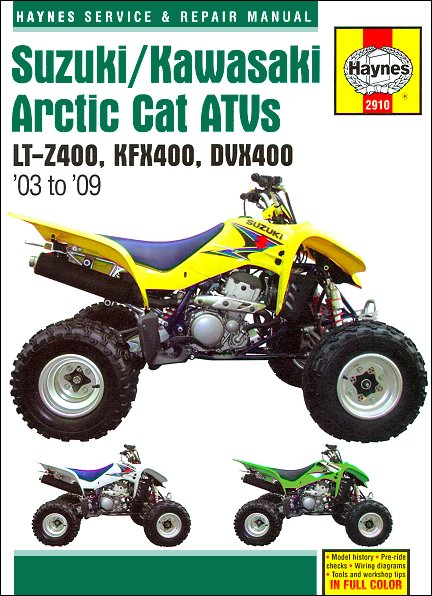 suzuki lt z400 kawasaki kfx400 arctic cat dvx400 repair manual rh themotorbookstore com arctic cat atv 2010 service manual arctic cat atv service manual pdf