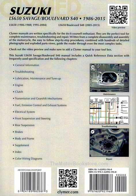 Suzuki Savage Repair Manual by Clymer - 1986-2015, LS650, Boulevard S40