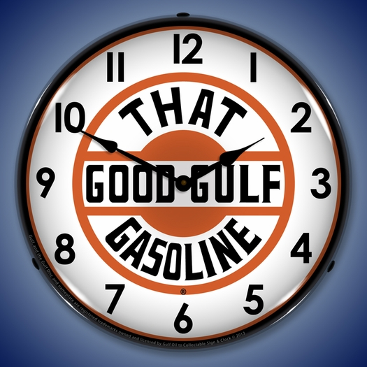 That Good Gulf Gasoline Wall Clock, LED Lighted