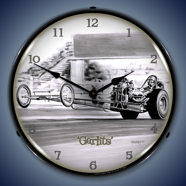 Tim Odell Art Automotive Wall Clocks Led Lighted Vintage
