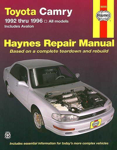 toyota camry toyota avalon repair manual 1992 1996 haynes. Black Bedroom Furniture Sets. Home Design Ideas