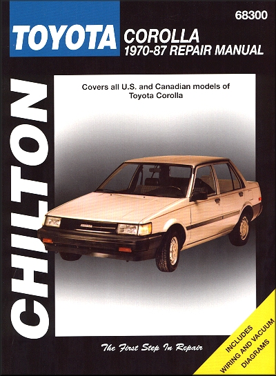 toyota corolla repair workshop manual 1970 1987 chilton 68300 rh themotorbookstore com 2000 Toyota Corolla Engine Exploded View 1987 toyota corolla owners manual