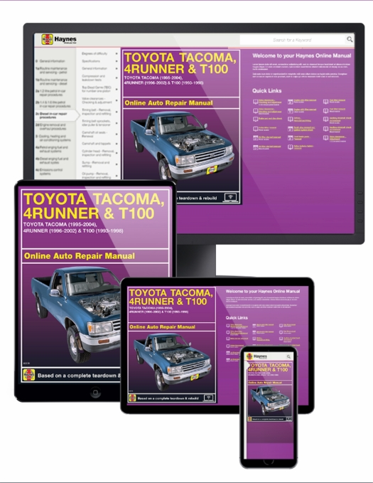 haynes online manual: toyota tacoma (95-04), 4runner (96-02) & t100 (93-98)  - 1 year subscription